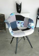 Poltrona sedia imbottita patchwork con gambe in ferro nero casa ufficio