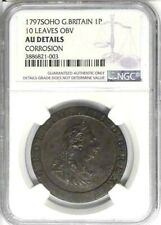 1797 Great Britain 1 Penny, NGC AU Details - Corrosion, KM-618, 10 Leaves Type
