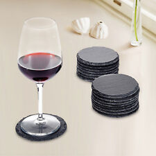 12pcs Set Rustic Natural Slate Round Coasters Coffee Mug Drinks Cup Table Mat