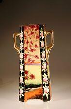 Royal Nippon Nishik Handpainted Scenic Square  Footed Tall Vase, Japan