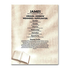 FIRST NAME MEANING PRINT Personalised Gift Christening Baptism Communion Bible