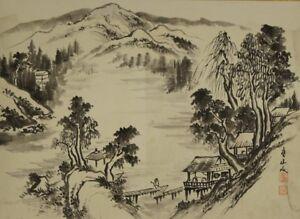 Landschaft Japanisches Rollbild Kakejiku Kakemono roll-up hanging scroll 4677