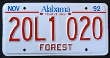 """ALABAMA """" HEART OF DIXIE - FOREST """" 1992 AL Vintage Classic License Plate"""