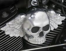 Polished aluminum winged skull horn cover.  Harley Davidson SKU-W4