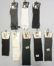 Ladies Kids Girls Plain School Uniform Long Knee High Socks Bow Pack Of 3