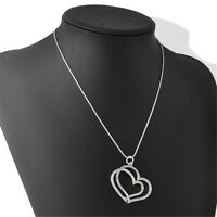 Nice Double Heart Pendant Silver Plated Necklace Couple Jewelry Gift Romance
