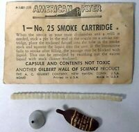 American Flyer No. 25 Single Smoke Cartridge, Funnel, Envelope & Pipe Cleaner