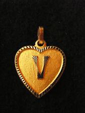 Pendentif Coeur Médaillon en Or Plaqué Lettre C 2 cm