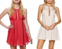 New Free People Sleeveless Crochet Knit Dress mini flare Red Ivory 4 6 8 10