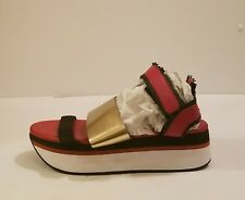 DKNY  Women's Red 50Mm Vera Mesh & Leather Sandals sz 8.5 As is