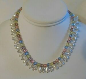 Monet Pastel Faceted Crystal White Pearl Dangling Beaded Necklace