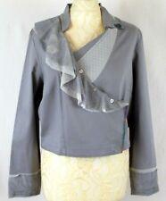 ALL BEAUTIFUL ENJOY Wrap Jacket 12 14 Blue Chambray Military Crop Lace Frill