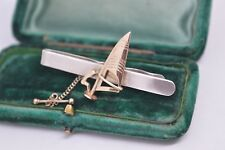 Vintage Sterling Silver tie clip with a 9ct gold Windsurfing design #Y156