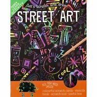 Lets Scratch Draw Street Art Colourful Cards 24 Page Book Box Stylus Stencils 3+