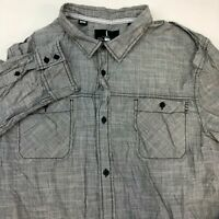 I Jeans by Buffalo Button Up Shirt Men's 2XL XXL Long Sleeve Gray 100% Cotton