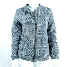 Roxy Jacket / Coat Zip Up Casual Petrol Blue Pattern Pockets Cotton Blend