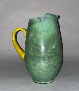 "Vintage European Green Marbelized Hand Blown Art Glass Pitcher ice guard 9-1/2"""
