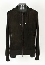 HERMES SUEDE GOATSKIN LEATHER / CASHMERE Jacket Hooded Hoodie Sweater - Brown M