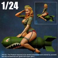 1/24 Female Soldier Sitting On Torpedo Figure Resin Static Model Kits  ⇪