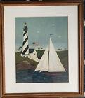 Warren Kimble Folk Art Nautical Ocean Sailing Ship Boat Lighthouse Framed