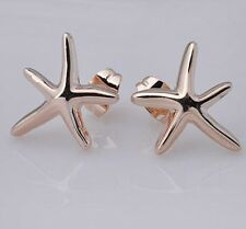 New Unique 18K GP Rose Gold Starfish Fashion and lovely Stud Earrings  E080