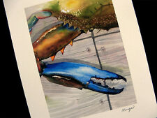 Large Blue Crab Claw 8X10 Watercolor Maryland Beach Decor art print Barry Singer