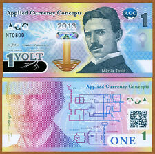 ACC, 1 Volt, 2013, Promotional / Advertizing Polymer Note, UNC > Nikola Tesla