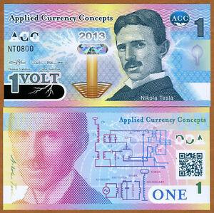 ACC, 1 Volt, 2013, Promotional / Advertising Polymer Note, UNC > Nikola Tesla