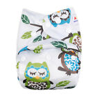 Alva Baby Owl Print Onesize Washable Reusable Cloth Pocket Diaper Nappy+1Insert