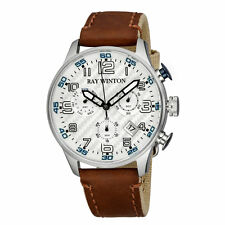 Ray Winton Men's WI0308 Chronograph Silver Dial Brown Leather/Fabric Watch