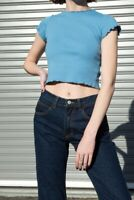 brandy melville Sky Blue crop cotton ruffle wynn top NWT sz XS/S