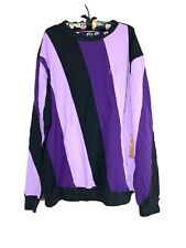 Lifted Research Group LRG Purple Striped Crew Neck Pullover Sweater Sz XL New