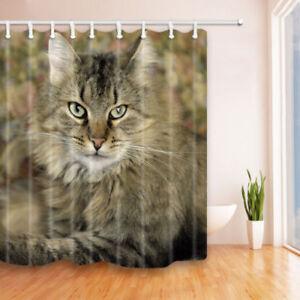 "Cute Animal Gray Cat Shower Curtain Bathroom Waterproof Fabric & 12 Hooks 71*71"""