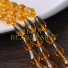 New 20pcs 16X10mm Faceted Teardrop Crystal Glass Spacer Loose Beads Topaz