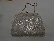 Vintage Beaded Handbag Hong Kong 1960's Sequin Faux Pearl Bead Tassels