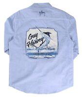 Guy Harvey Men's Classic Western L/S Pocket Fishing Shirt..MSRP 49.95..Lt..Blue
