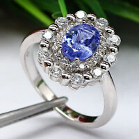 NATURAL 6 X 8 mm. OVAL BLUE TANZANITE & WHITE CZ RING 925 STERLING SILVER SZ 7