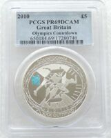 2010 London Olympic Games Countdown £5 Five Pound Silver Proof Coin PCGS PR69 DC