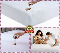 Waterproof Terry Mattress Protector Extra Deep Fitted Bed Sheet Cover Non Noisy