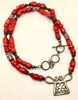 Vintage 925 Sterling Silver Art Glass & Red Coral Hammered Pendant Necklace
