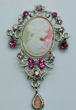 Cameo Victorian pink & ab Crystal color party wedding Pin Brooch jewelry YD70
