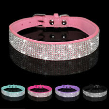 Pink Rhinestone Dog Collar Small Chihuahua Necklace Soft Suede Adjustable Yorkie