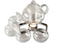 Tee-Service 600ml Glas Kanne Borosilikatglas u. 4 doppelwandige Tee Tassen TC06