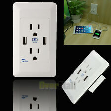 New White Dual USB Port Wall Socket Charger AC Receptacle Plate Power Adapter US