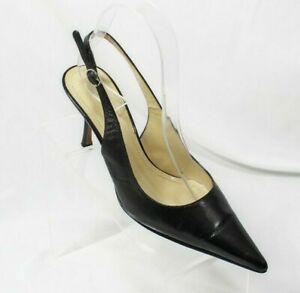 "AK ANNE KLEIN Makaya Slingback 3"" Heels Pumps 6.5 M Black Pointed Toe Leather"