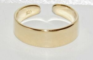 9ct Yellow Gold on Silver Plain Toe Ring - Adjustable
