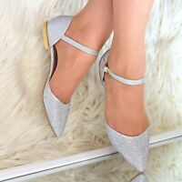 Womens Flat evening party shoes Ankle strap Pointy toe Rhinestone Shoes size