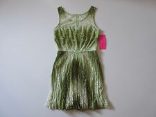 NWT Betsey Johnson Pleated Sage Green Lace Illusion Neck Sleeveless Dress 10
