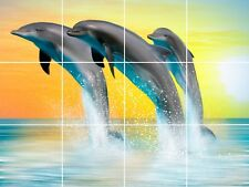 "Ceramic Tile Mural Backsplash Dolphin Wall Art Mural Décor Sea Life 24"" X 18"""