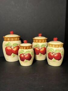 Set of 4 Cracker Barrel Susan Winget Apple Collection Basket Weave Canisters